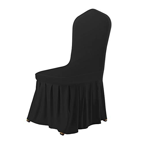 (uxcell Stretch Spandex Round Top Dining Room Chair Covers Long Ruffled Skirt Slipcovers for Shorty Chair Seat Covers Black)