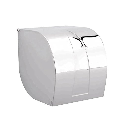 Dreamsbaku High Class Roll Tissue Toilet Paper Holders with Full Cover, Wall Mounted, Stainless Steel, Polished Chrome