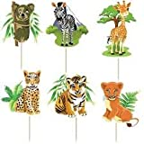 Safari Jungle Animals Cupcake Toppers Birthday Party (Pack of 24)