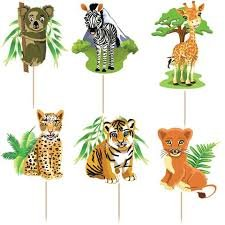 Jungle Safari Cake - Safari Jungle Animals Cupcake Toppers Birthday Party (Pack of 24)
