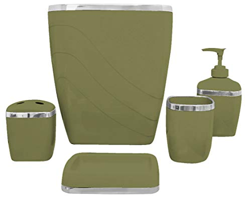 - Carnation Home Fashions 5-Piece Plastic Bath Accessory Set, Sage