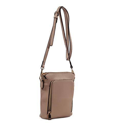 Isabelle Women's Crossbody Triple Zip Pocket Handbag (Light Taupe)