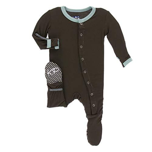 - Kickee Pants Little Boys Solid Footie with Snaps - Bark with Shore, Newborn