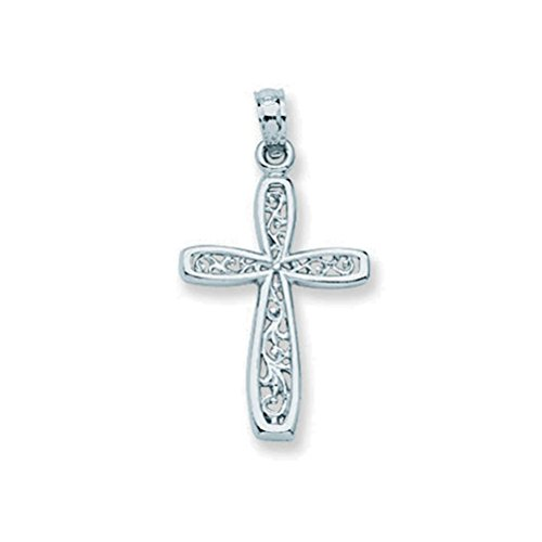 10k White Gold Cross Pendant with Filigree Design (Gold Filigree Cross Necklace)