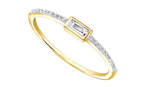 (AFFY 1/10Ct Real Baguette Cut and Round Cut Diamond 10K Solid Gold Engagement Wedding Stackable Band Ring)