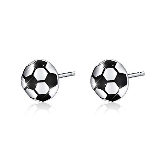 Women/Girls/Men/Boys Football Stud Earrings Soccer Ears Hypoallergenic Ball Jewelry 925 Sterling Silver (Football)
