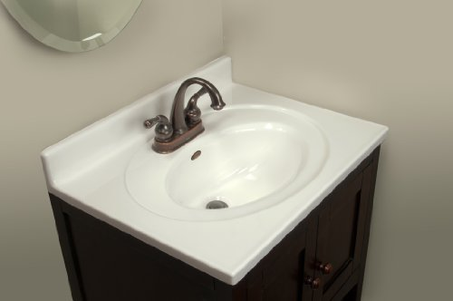 Imperial Fs2519spw Bathroom Vanity Top With Recessed Center Oval Bowl Solid White Gloss Finish