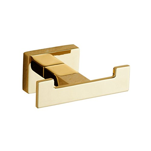 Gold Robe Hook (Square Coat and Robe Hook Wall Mount ,Golden)