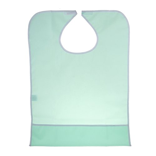 - MonkeyJack Large PVC Waterproof Adults Elders Bib Dinning Eating Clothing Protector Disability Apron with Crumb Catcher Pocket - Light Green, 76 x 47cm