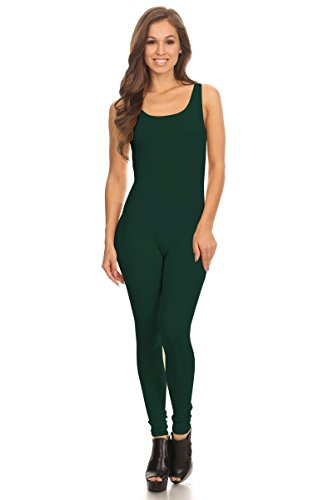 - Women's Scoop Neck Sleeveless Stretch Cotton Jersey Unitard Bodysuits (Medium, Green)