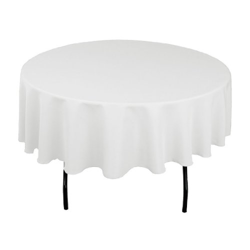 "Craft and Party - 10 pcs Round Tablecloth for Home, Party, Wedding or Restaurant Use. (90"" Round White)"