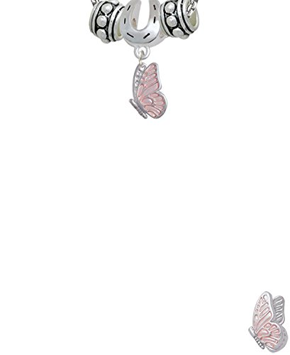 Delight Jewelry Enamel Flying Butterfly Horseshoe 3 Bead Necklace