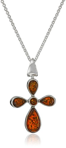 Sterling Silver Multi-Color Amber Cross Pendant Necklace , 18