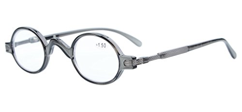 Eyekepper Readers Spring Temple Vintage Mini Small Oval Round Reading Glasses Grey +1.0 (Glasses Narrow Reading)