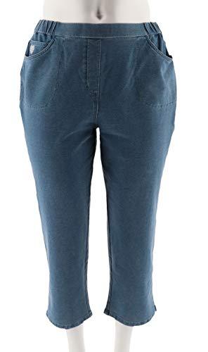 (Quacker Factory DreamJeannes Pull-On Crop Pants Bleached Denim XS #)