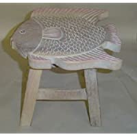 Fish Hand Carved Wooden Foot Stool in Whitewashed Finish