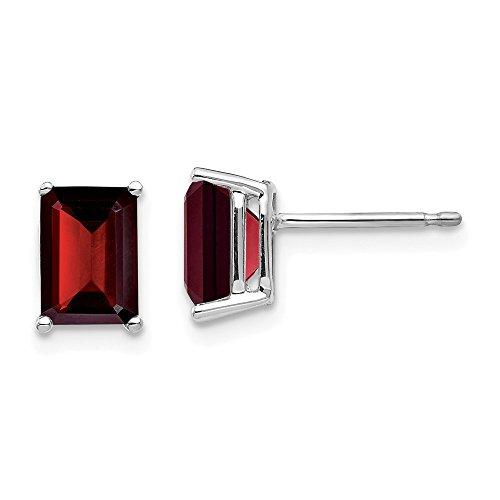 FB Jewels Solid 14K White Gold 7X5mm Emerald Cut Garnet Earrings