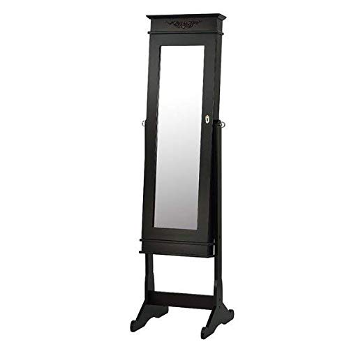 Free Standing Locking Dark Brown Jewellery Armoire with Mirror
