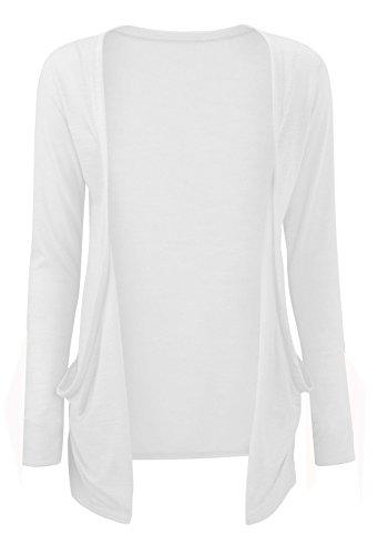 donna tasche White a aperto ampie Janisramone lunghe maniche Boyfriend con top da cardigan qwBC07Bv