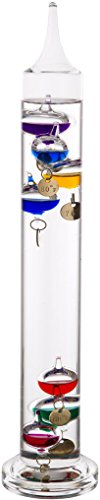 "Palais Essentials Galileo Thermometer - Floating Glass Balls Fahrenheit Temperature Indicator - Fun and Decorative (15"" Inches High, 7 Multi Colored Spheres)"