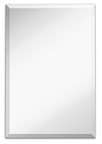 - Large Simple Rectangular Streamlined 1 Inch Beveled Wall Mirror | Premium Silver Backed Rectangle Mirrored Glass Panel Vanity, Bedroom, or Bathroom Hangs Horizontal & Vertical Frameless(24