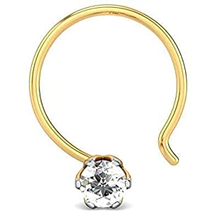 monde éblouissant BFC Yellow Copper 22K Gold and Diamond Hita Nose Pin for Women