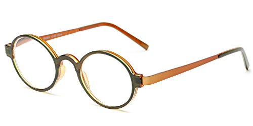 Readers.com The Elton +2.25 Green/Orange Round Retro Readers with Two-Tone Color Scheme Reading - Sunglasses Scheme