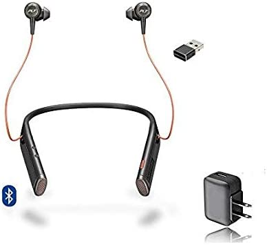 Plantronics Bluetooth Voyager 6200 UC Duo Headphone Neckband with Active Environmental Noise Canceling, Music Streaming, Voice Apps, Conferencing Wall Charger Included Black