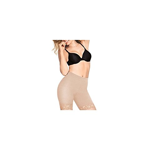 FLEXEES by Maidenform Lace Trim Thighslimmer, Style 81200 (XL, Latte)