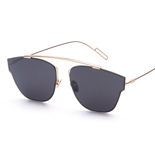 Vivian & Vincent Premiun Oversized Cat Eye UV Protection Sunglasses Eyewear (Gold Frame Black Lens, - Sunglasses Cat Eye Express