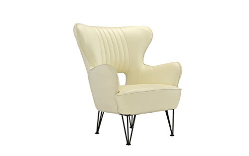 Modern Leather Accent Armchair with Shelter Style Living Room Chair (Beige)