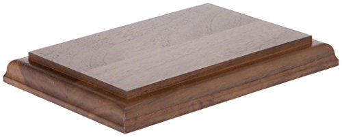 Trophy Plate Base - Plymor Brand Solid Walnut Rectangular Wood Display Base with Ogee Edge.75