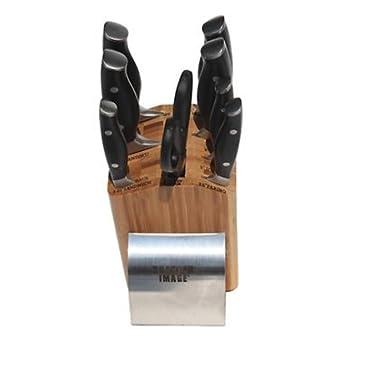Sharper Image 9pc Cutlery Set; 8 Chef, 8 Carving, 8 Serrated Bread Knife, 7 Santoku W/cullens, 5-1/4 Serrated Sandwich, 5 Utility, 3-1/2 Paring Knife, Scissors + Bamboo Storage Block