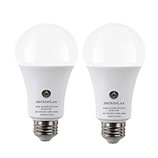 Dusk to Dawn Light Bulb JackonLux Outdoor Smart Light Bulb A19 8W 800 LM 5000K UL Listed Automatic On/Off Sensor Bulb for Yard Porch Patio Garage Garden (Daylight, 2 Pack)