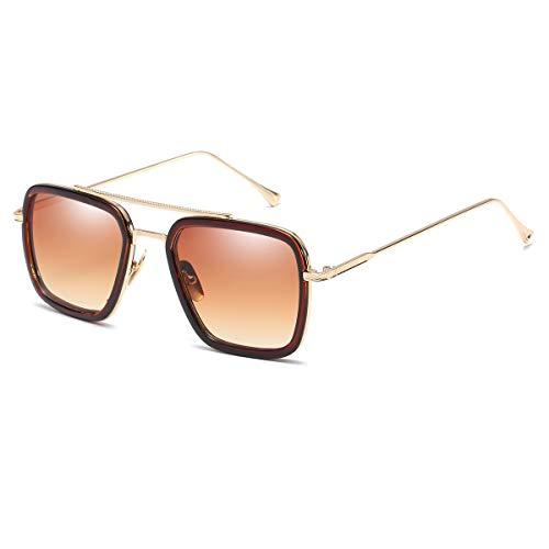Vintage Aviator Square Sunglasses for Men Women Gold Frame Retro Brand Designer Classic Tony Stark ()