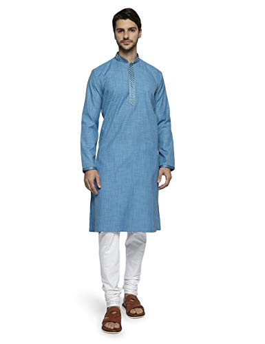 Ethnix by Raymond Men's Blue Kurta Set M