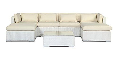 r Modern Outdoor Furniture Sofa Sectional Patio Modify-It Aloha Napali 7 Piece Set, Ivory (Ivory Wicker Ottoman)
