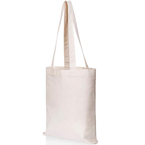 Canvas Craft Tote Bags (12 pack) for Crafts, Gift Bags, Wedding Favors Bags, Welcome Bags, Goody Bags, Lunch Bags and More! (14x12 Inches)
