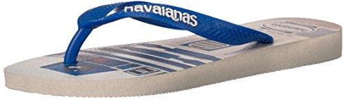 Havaianas Womens Wars Open Toe Casual Slide Sandals White/Blue Star AzNdAsN4