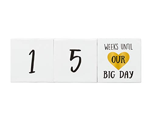 (Kate & Milo Wedding Countdown Blocks, Photo Sharing Prop Announcement, Perfect Engagement Gift, White)