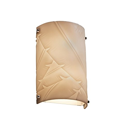 - Justice Design Group Porcelina Collection 1-Light Finials Cylinder Wall Sconce - Outdoor - Polished Chrome Finish with Banana Leaf Faux Porcelain Resin Shade