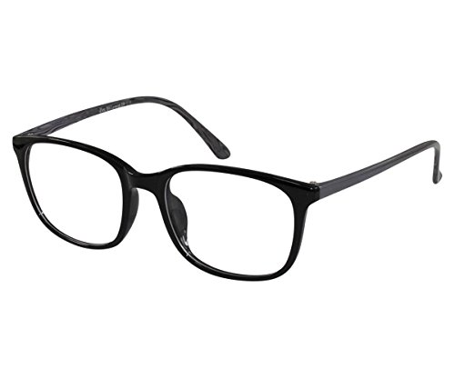 EyeBuyExpress Glasses Men Women RX Round Black Grey Nerdy Retro Eye Flex Frame +8.00