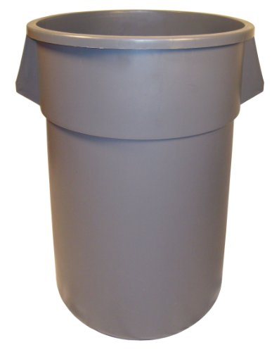 55 Gallon Receptacle (Continental 5500GY 55-Gallon Huskee LLDPE Waste Receptacle, Round, Gray)