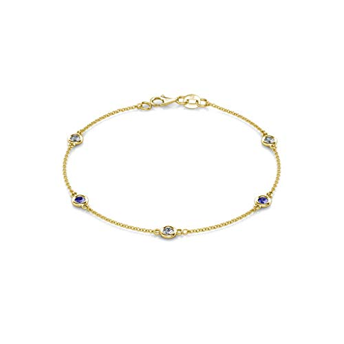 TriJewels Tanzanite and Lab Grown Diamond 3mm Womens Station Bracelet 0.48 ctw 14K Yellow Gold (Ctw Diamond Tanzanite Bracelet)