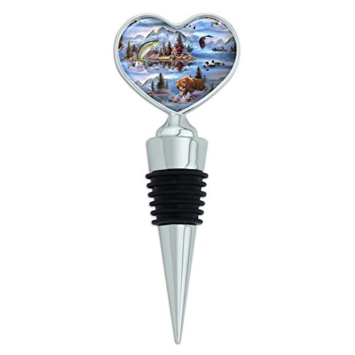 Mountain Fly Fishing Bear Stream Lake Fish Heart Love Wine Bottle Stopper