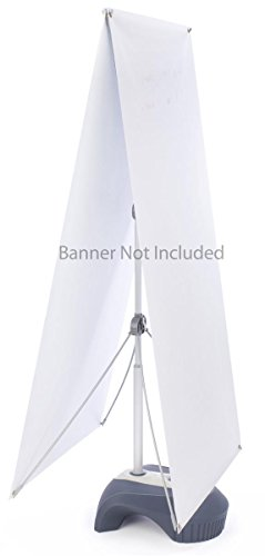Displays2go Height Adjustable Outdoor X Banner Stand with Water-Fill Base, Double-Sided Display (2YB2771M3)