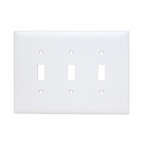 (P & S TPJ3-W 3-Gang Toggle Switch Plate, Jumbo, Nylon, White by Pass & Seymour)