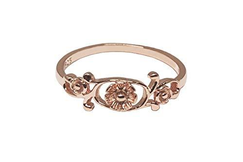 CloseoutWarehouse Rose Gold-Tone Plated Sterling Silver Antique Filigree Flower Ring Size 7 -