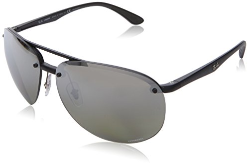 (Ray-Ban RB4293CH Chromance Mirrored Aviator Sunglasses, Matte Black/Polarized Silver Gradient Mirror, 65 mm)
