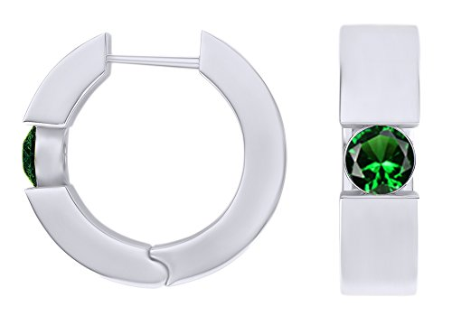 Round Cut Simulated Emerald Huggie Hoop Earrings In 14k White Gold Over Sterling Silver